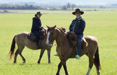 אהרוני וגידי רוכבים על סוסים